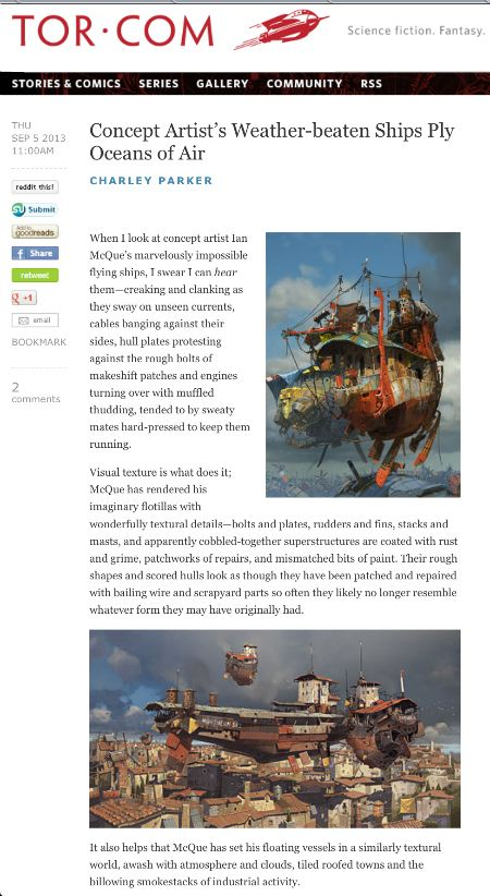 My Tor.com post on Ian McQue's flying ships